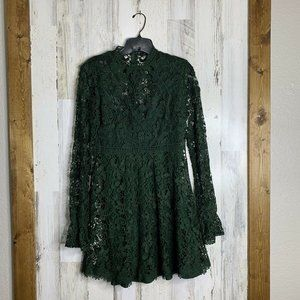 Zara Woman mock neck lace long sleeve hunter green